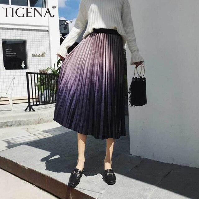 4bbbbcbe3 TIGENA Gradient Color Velvet Elegant Long Skirts Women Fashion 2018 Autumn  Winter High Waist Pleated Skirt Female