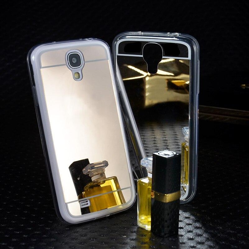 75b54922c2 Luxo galvanoplastia ouro espelho caso claro Macio TPU de proteção sacos de  Telefone móvel tampa traseira fina para Samsung Galaxy I9500 S4