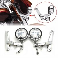 4.5 Led Auxiliary Fog Lights With 4.5 inch Housing Bucket and Mounting Brackets For Harley Street Glide ( Chrome / Black )