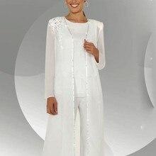 Шифоновые элегантные костюмы для мамы невесты с пайетками, куртка с длинными рукавами, Vestido Mae Da Noiva Janique, платья на заказ