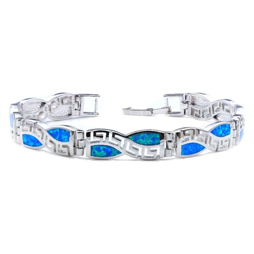 Geometric Blue Fire Opal Charm Bracelet For Christmas Gift
