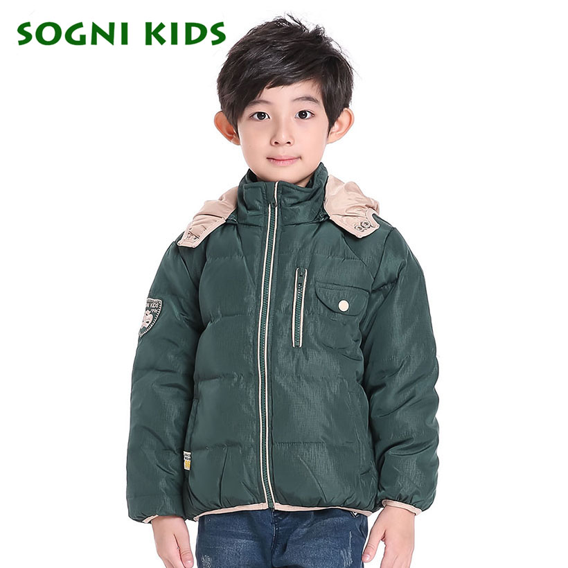 SOGNI KIDS Hooded Zipper Down Jackets Baby Boys Feather Decoration Pocket Coats 2016 Toddler Solid Winter Imported Outwears