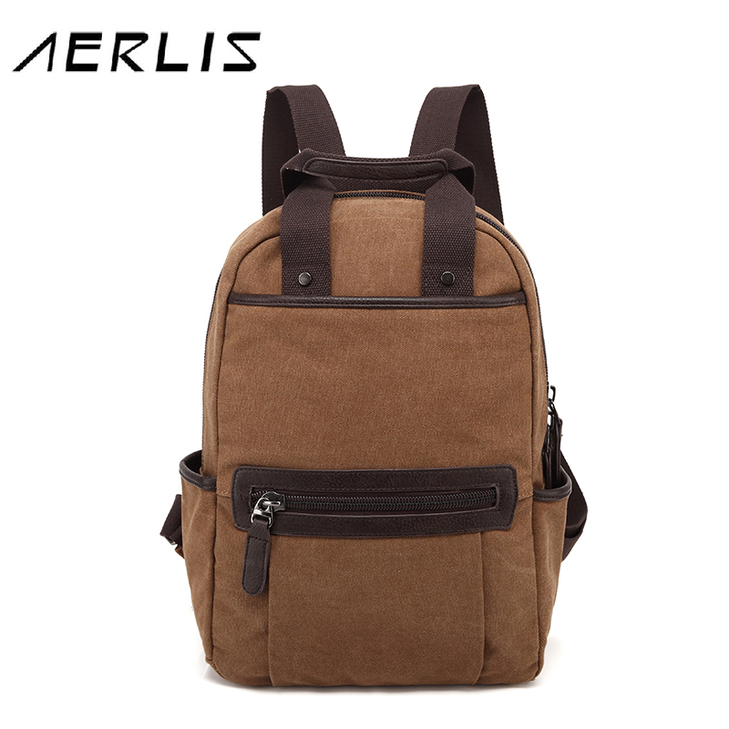 AERLIS Fashion Men Canvas Backpack Casual School Bag Travel 14 inch Laptop Back Pack Backbags 2016 New Free Shipping