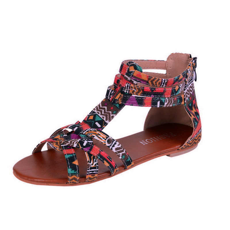 SHUJIN Bohemian Women Flat Shoes Torridity Gladiator  Sandal Boho Sandalias Mujer Colorful Female Beach Flat Plus Size 35-43