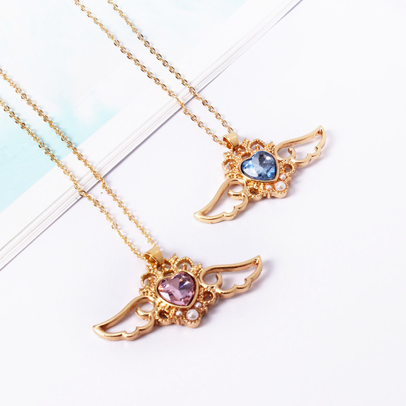 Fashion beautiful ladies fashion Angel wings peach crystal heart necklace chain of clavicle 3302dd
