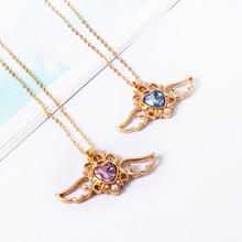 цена на Fashion beautiful ladies fashion Angel wings peach crystal heart necklace chain of clavicle 3302dd