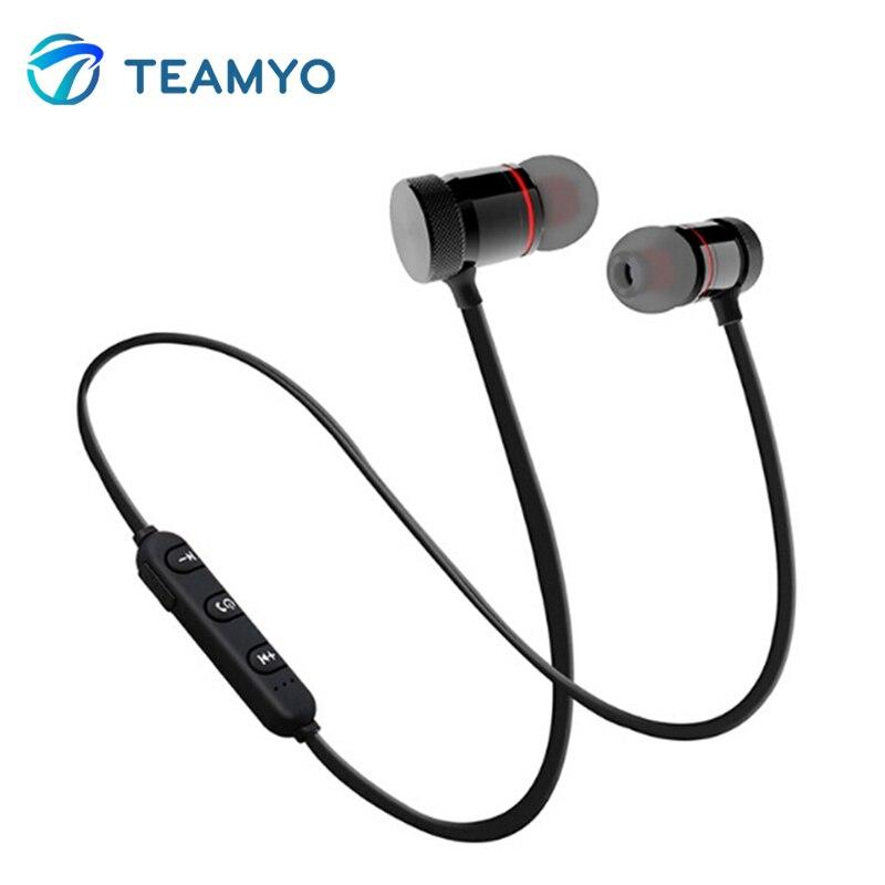 Teamyo Bluetooth Wireless Neckband Sport Running Earphone Stereo Bass headset SweatProof headphone with mic For Iphone Xiaomi magnetic attraction bluetooth earphone headset waterproof sports 4.2