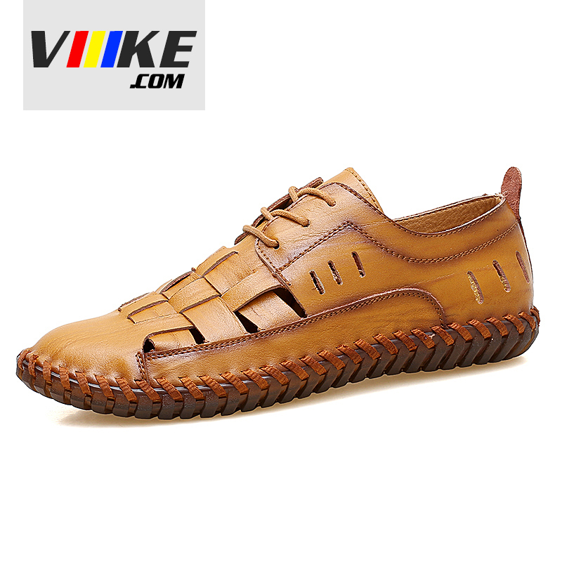 Viiikecom New Comfortable Roman Sandals Men Casual Sandals Genuine Leather Fashion Summer Shoes Slippers Breathable Genuine
