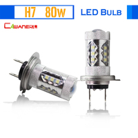 2 Pieces H7 80W Car Ligh Source LED Lamp Bulb 16 SMD White 6000K 1800LM Fog