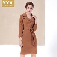 New Ladies Autumn Long Sleeve Bodycon Long Coat Women Sexy Belted Wrap Slim Fit Trench