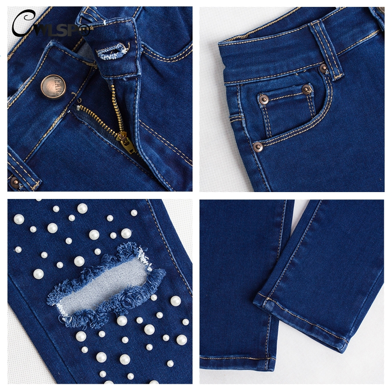 CWLSP Big Size Jeans Women High Waist Beading Denim Pants Ripped Skinny Pencil Jeans Holes Street style vaqueros mujer QL4125 in Jeans from Women 39 s Clothing