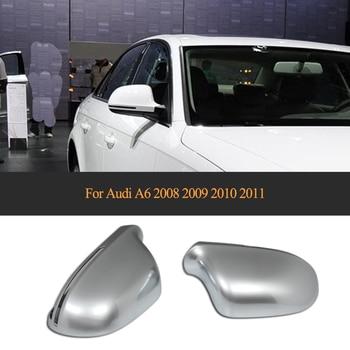 Traseira do carro espelho lateral ABS Cromado Mate A6 Covers shell para Audi 2008 2009 2010 2011 Substituição