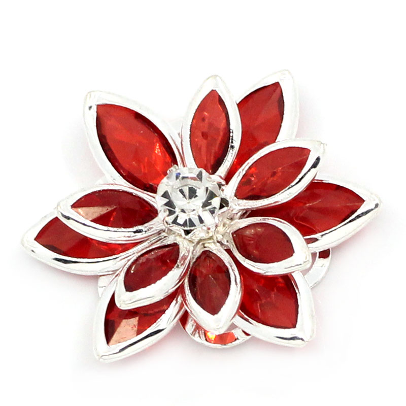 DoreenBeads Copper Rhinestone Embellishments Findings Flower Silver Color With Rhinestone 23mm(7/8