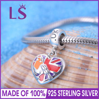 LS UK Flag With National Bird Dangle Bead 100 925 Sterling Silver Charm Beads Fit European