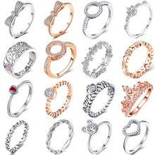 Специальное предложение 30 стилей серебряное кольцо на палец стекируемые вечерние кольца с бантиком в виде короны для женщин пара оригинальных ювелирных изделий подарок