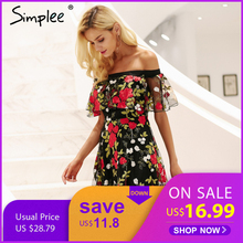 font b Simplee b font Sexy off shoulder embroidery lace dress women Ruffle mesh