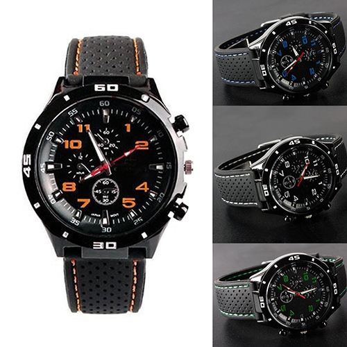 Men Fashion Silicone Band Round Dial Analog Quartz Wristwatch Sports Wrist Watch