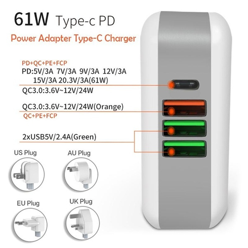 ipad iphone 61W PD Multiport Type-C Charger AC/DC Power Adapter QC3.0 Quick Charge Type-C Laptop Adapter For iPad iPhone MacBook Pro (1)