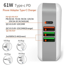 61W PD Multiport Type-C Charger AC/DC Power Adapter QC3.0 Quick Charge Laptop For iPad iPhone MacBook Pro