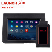 где купить LAUNCH X431 V 8 Inch Bluetooth Wi-Fi Full System Car Diagnostic tool Support ECU Coding X-431 V+  Mini Auto Scanner OBD2 Scanner дешево