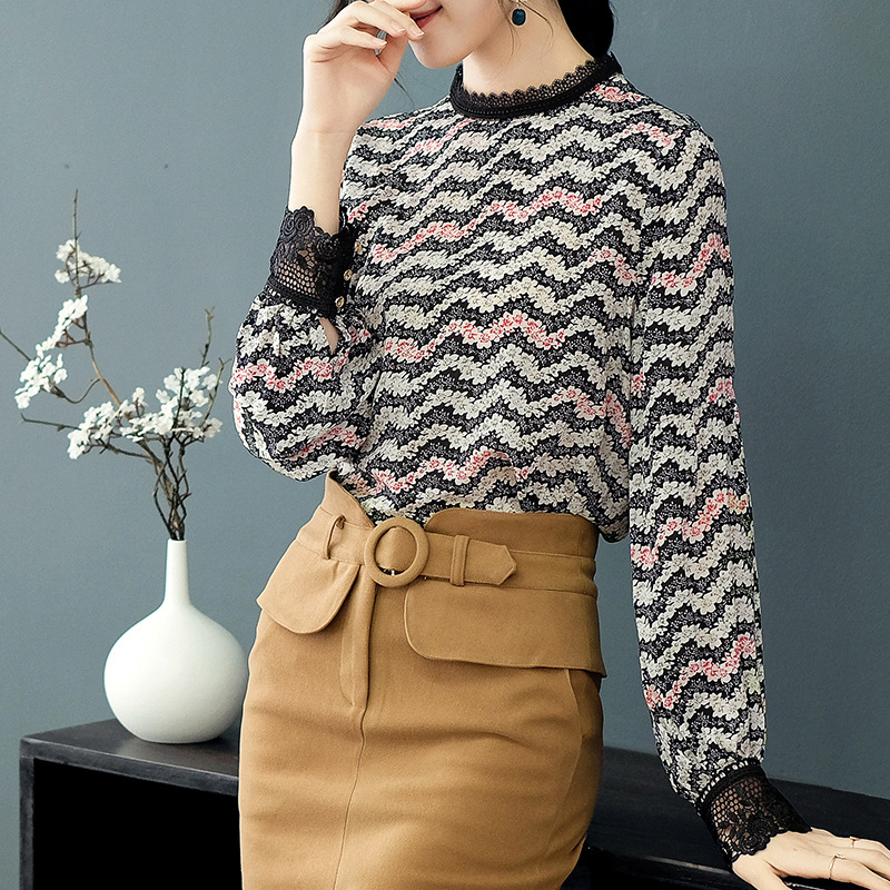 Tops Elegante Negro Real Mujer Coreano Camisas Seda Casual Blusa Y Encaje Impreso De Moda Calidad Alta cuello Decoración O Ropa qwf4II