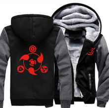 USA size Anime NARUTO Akatsuki Cosplay Zipper Jacket Thicken Hoodie Coat Clothing Casual