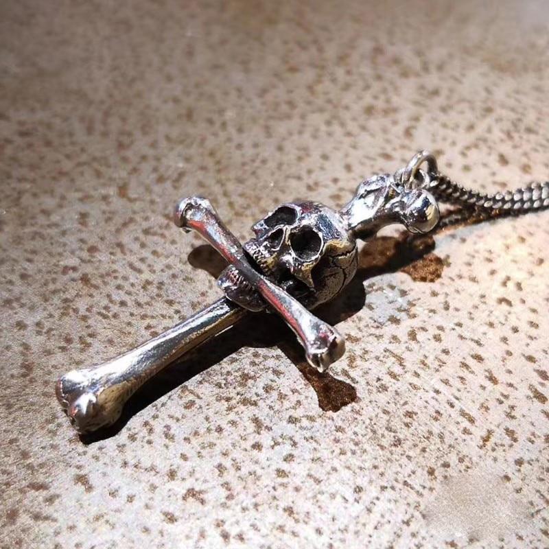 Original Design Cross Pendant 925 Silver Enamel Necklace Personality Bone Pendant