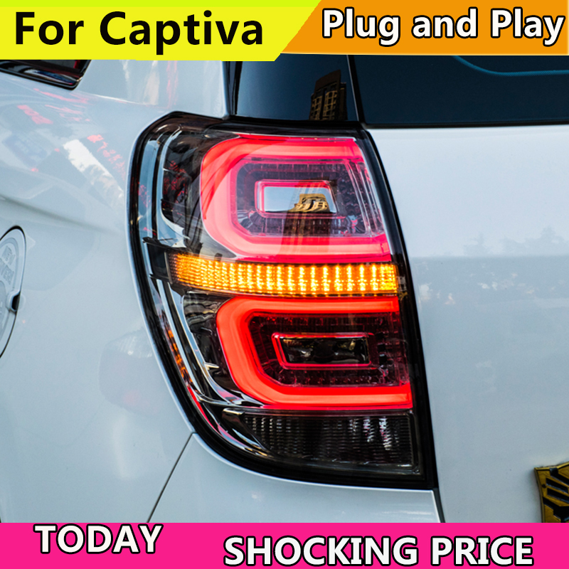 цена Car Styling tail lights For Chevrolet Captiva taillights 2008-2016 LED Tail Lamp rear trunk lamp DRL+signal+brake+reverse Light