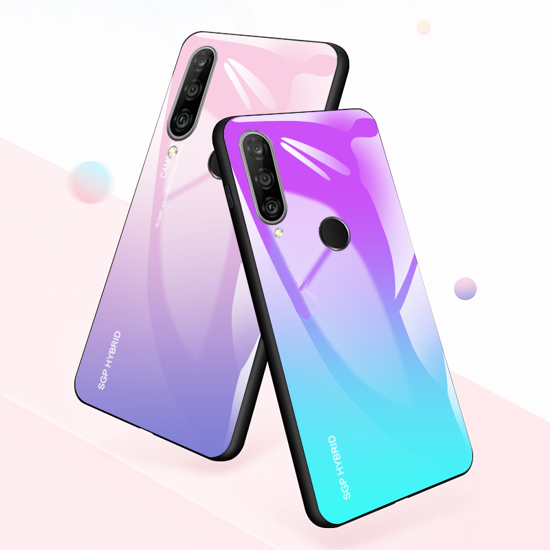 Gradient Case for Huawei P30 Pro Phone Case for Huawei P30 Lite Tempered Glass P30pro p30lite light Protective Glass Phone Shell