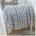 Novos negócios 10 metros/roll crystal clear ss6-ss12 (2mm-3mm) de prata base de costura de vestuário estilo diy acessórios de beleza da cadeia de strass