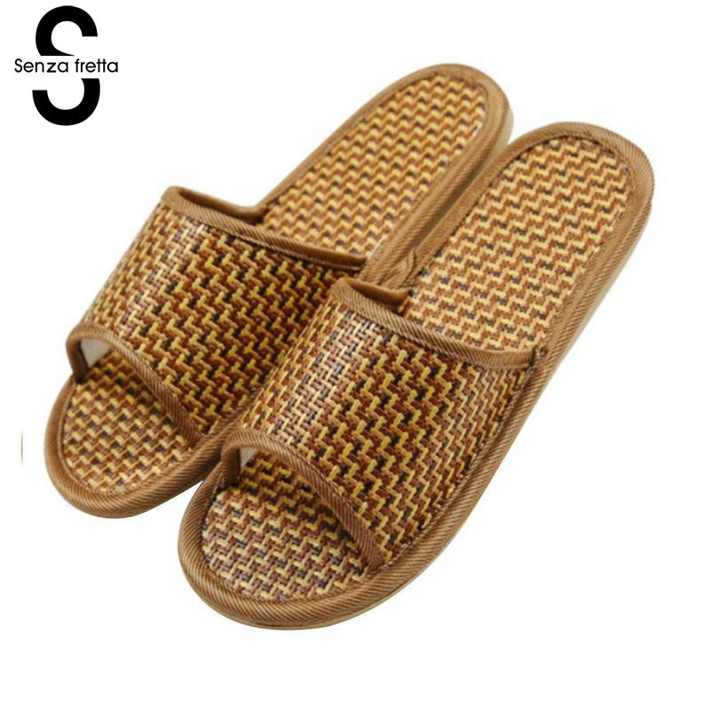Senza Fretta Summer Lover Slippers Women Rattan Home Slippers Bamboo Rattan Cane Grass Weave Women Men Home Slippers Plus Size 2018 natural tropical royal cane couple home slippers rattan straw weave female slippers bamboo rattan summer slippers