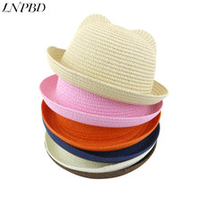 Ear sunshade hat summer hat Children straw hat baby hats boy and girl Summer Cap Kids Solid Beach Panama Caps Parent - child(China)