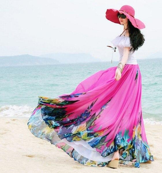 Летняя женская синяя шифоновая юбка с цветочным принтом богемные Напольные Длинные юбки - Цвет: Красный