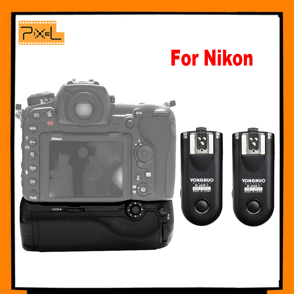 PIXEL Vertax D-17 Battery Grip D17 for Nikon D500 DSLR Camera +Yongnuo RF-603NII-N1 Flash Trigger for Nikon D800 D600 D610 D7200 pixel vertax d17 professional battery grip for nikon d500 compatible with en el15 or aa battery replacement for nikon mb d17