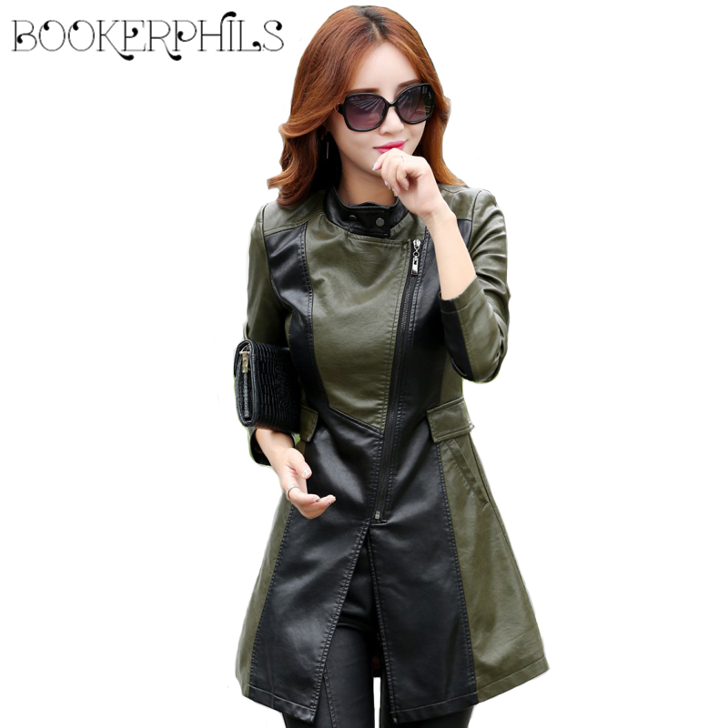 2019 Autumn   Leather   Jacket Women Winter Plus Size Slim Ladies Faux PU Outerwear Long Women   Leather   Trench Coat Female 4XL,5XL