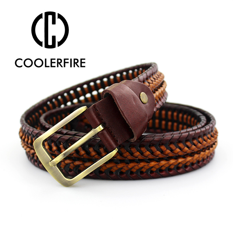 2019 New   Belt   Man Fashion Mens   belts   luxury genuine leather braided Real Cow skin straps men Jeans Wide girdle Male MQ1621