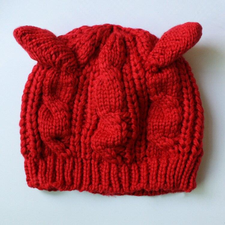 Womn sombreros niñas invierno tejer lana gato Beanie Knit calentador ...