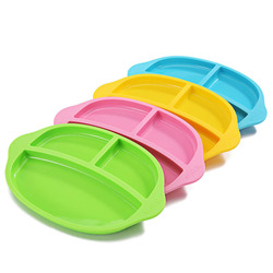 Bpa free super soft baby silicone compartment plate tablelet bowl kids utensils tableware bowl blue pink.jpg 250x250