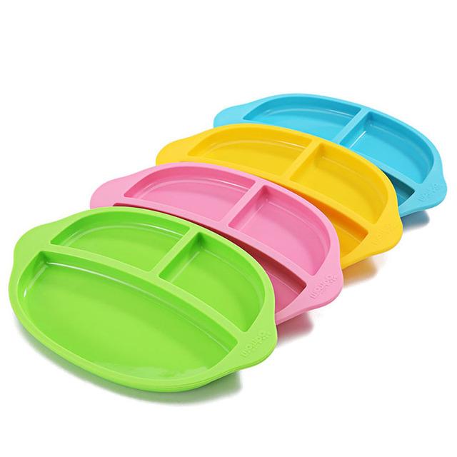 Bpa livre bebê super macio silicone placa compartimento tablelet crianças tigela utensílios talheres tigela azul verde rosa de presente de natal