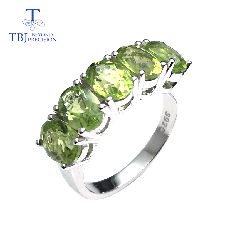 Tbj 100 Natural Peridot oval5 7mm 4ct gemstone ring in 925 sterling silver colorstone jewelry with