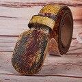 Hongmioo cinturón amarillo madera hebilla blets unisex ocasional suave hebilla de cinturón de placa agrietada líneas del estilo del ocio envío gratis