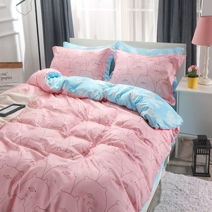 Image 3 - 지점 홈 섬유 킹 퀸 싱글 침구 러블리 돼지 핑크 이불 커버 시트 베개 케이스 소녀 아이 십대 침대 시트 세트