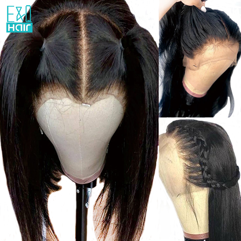 Full Lace Human Hair Wigs For Black Women Pre Plucked Hairline Peruvian Remy Hair Straight Long Hair Wig With Enough Baby Hair