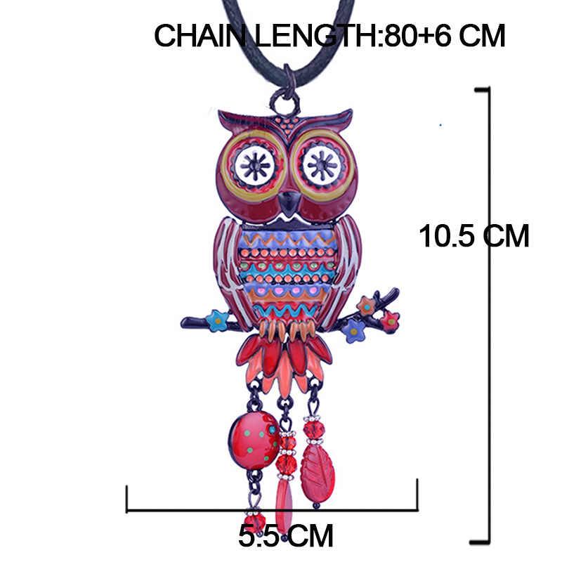 Cring Coco 2019 ขายร้อน Big Red Owl จี้สร้อยคอผู้หญิงผู้หญิงแฟชั่นสัตว์ Charms คริสตัลสร้อยคอเชือกโซ่
