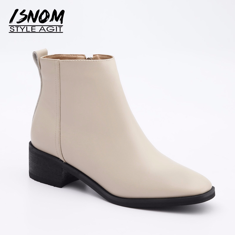 ISNOM Cow Leather Women Thick Heels Boots Autumn Fashion Square Toe Ankle Boots Female Shoes 2018