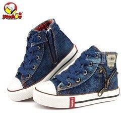 2019 Crianças Lona Sapatos de Desporto Respirável Meninos Tênis de Marca Sapatas Dos Miúdos para Meninas de Jeans Denim Casual Criança Botas Flat 25 -37