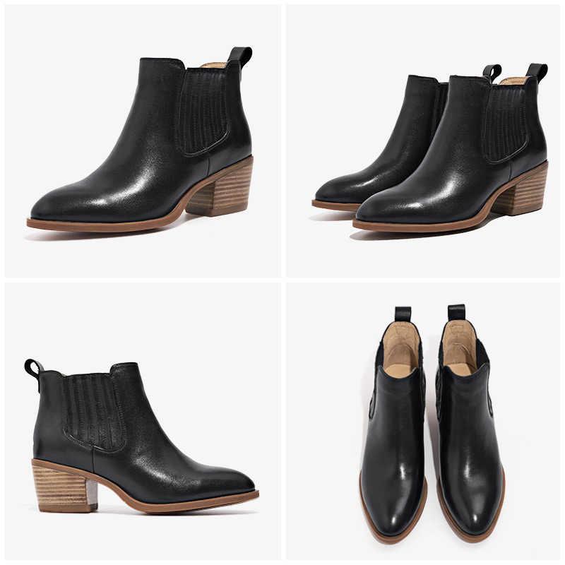 BeauToday kadın Chelsea çizmeler marka hakiki buzağı deri sivri burun bayan yarım çizmeler yüksek topuk ayakkabı el yapımı 03321