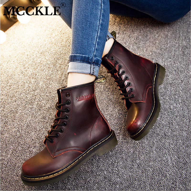 MCCKLE Plus Size Women Flat Platform Ankle Boots Female Lace Up Genuine Leather Creeper Short Boots Shoes Ladies Fashion