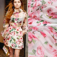 Pink rose high grade digital painting natural chiffon organza silk fabric for dress shirt christmas fabrics patchwork tissu tela