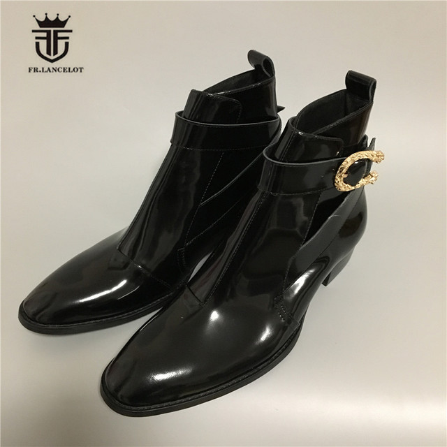 Real Picture Handmade Skull rivet buckle strap patent leather Luxury  Men Wedge Ankle Boots Pointed Toe Vintage Wyatte Boots